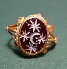 Roman Carnelian Moon and Stars Ring, 100-300 AD