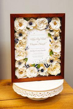 "Wedding Bouquet Preservation - 11""x14"" Box - Included wedding invitation & fabric from bouquet wrap - www.hanawillowdesign.com"