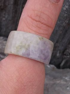Natural Lavender Jadeite Ring Fei Cui A Grade Watery Translucent Band Mens Fashion Classic Style Traditional Violet White Stunning Jewelry Rings, Unique Jewelry, Jade Ring, Jade Beads, Shades Of White, Very Lovely, Cuff Bracelets, Lavender, Great Gifts