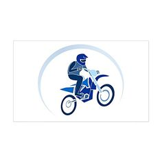 Sticker Rectangle Motocross MX Flying Dirt Bike in Blue ** Continue to the product at the image link-affiliate link.