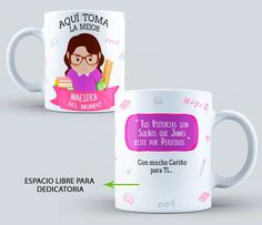 DISEÑOS DE AQUI TOMA EL MEJOR PARA SUBLIMAR MUGS Jar Gifts, Maria Jose, Teacher Gifts, Silhouette Cameo, Mugs, Tableware, Students, Boutique, Diy Creative Ideas