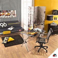 ¡Nuestro espacio de estudio debe reflejar nuestra personalidad! #Sodimac #Homecenter #Pinturas #decora #inspiracion #color #combinacion #escritorio #ambiente #hogar #casa#amarillo #negro