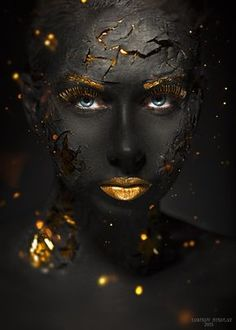 black and gold photography African Beauty, African Art, Kintsugi, Black Women Art, Face Art, Black Is Beautiful, Simply Beautiful, Belle Photo, Makeup Art