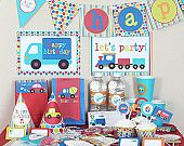 Transportation Birthday Printable Party Kit - Plane, Train, Car and Automobile - Instant Download
