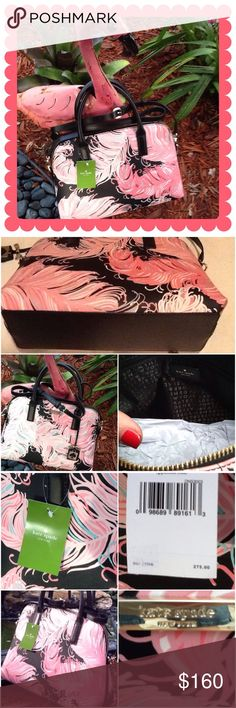 Kate spade handbag NWT kate spade NY black leather with pink feather print bag; top handle for carrying & shoulder strap cross-body; there is a scratch on the kate spade gold label (see photo) not noticeable unless close inspection; approx.  - 12 inches across; 9.5 height and 4 inches depth kate spade Bags Crossbody Bags