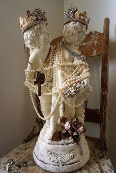 Classic French statue boy w/ girl cherubs by AnitaSperoDesign