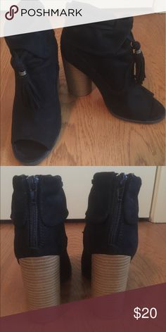 Open toed suede booties w/zippers and round heels So so cute!  Open toed suede booties with back zippers and round comfy heels!  Precious on🖤 Qupid Shoes Ankle Boots & Booties