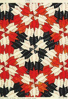 Oneindigheidsbenaderingen - In deze prenten verwerkte Escher het begrip oneindig met behulp van een oneindige reeks. Dit deed hij door een bruikbaar figuur te nemen en deze op dusdanige wijze te verkleinen dat hij de verschillende maten met behulp van een regelmatige vlakvulling kon creëren, die het gewenste effect had. Zo ontstond een prent die naar binnen en in de latere prenten naar buiten toe een steeds kleinere afbeelding laat zien.