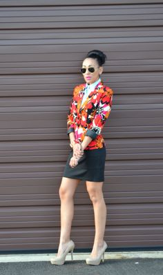 Spring Outfit: JCP Floral blazer and skirt, Zara nude pumps