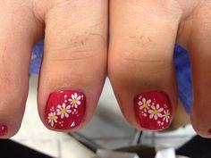 cute Nail design, gross toe hair.