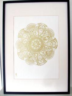 LIMITED EDITION Grandma's Doily in Metallic Gold - Decorative Screenprint £30.00
