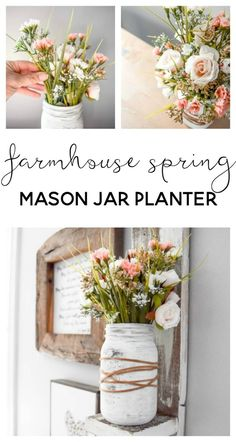 Farmhouse Spring Mason Jar Planter is part of Upcycled Crafts Garden Mason Jars - Welcome in Spring by making an easy mason jar craft with beautiful farmhouse flower arrangement This farmhouse spring mason jar planter is SO easy to make Pot Mason Diy, Mason Jar Planter, Mason Jars, Mason Jar Crafts, Mason Jar Kitchen, Diy Spring, Spring Home, Spring Crafts, Mason Jar Flower Arrangements