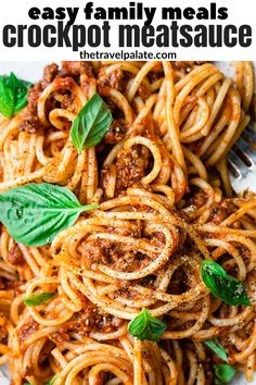 This Slow Cooker easy family meal Meat Sauce is perfect for your next spaghetti night dinner. Made with ground beef and Italian sausage, it's hearty and full of tomato flavor. The best part, it's simple to make because it cooks in the crockpot. Leftovers are great for a delicious homemade lasagna. #meatsauce #crockpot