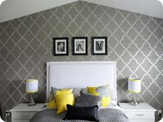 grey-yellow-white-patterned-bedroom Wall Behind Bed, Focal Wall, Wall Stenciling, Basement Ideas, Guest Room, Paint Colors, Family Room, Gallery Wall, Master Bedroom