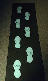 Laminate feet onto a strip of paper. Write sight words on it with an overhead marker. Students have to step on feet and read the words when they come into the room. Erase with whiteboard cleaner and repeat!