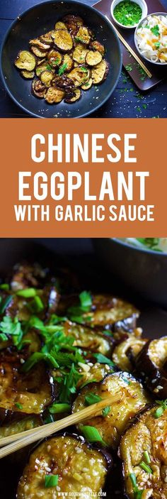 This recipe for Chinese eggplant with garlic sauce is one of my favorite ways of cooking eggplant! Give it a try and enjoy it with a side of rice or rice noodles. - Chinese Eggplant with Garlic Sauce Vegetable Recipes, Vegetarian Recipes, Cooking Recipes, Healthy Recipes, Skinny Recipes, Chinese Eggplant Recipes, Vegan Eggplant Recipes, Chinese Recipes, Eggplant With Garlic Sauce