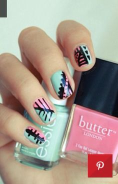 Pink and Blue - black detail - Statement nails