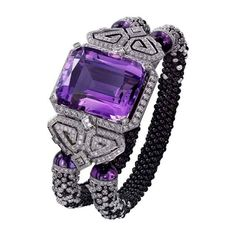 High Jewelry watches created by Cartier. Brought to life by circles, lozenges and squares, and set with the most precious stones, the graphic and harmonious lines of Cartier High Jewelry watches create extravagant perspectives. The Purple, All Things Purple, Purple Style, Magenta, Purple Jewelry, Amethyst Jewelry, Bling Jewelry, Amethyst Bracelet, Purple Accessories
