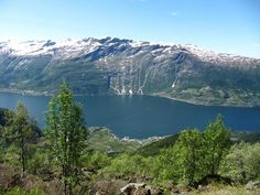 Hiking in Lofthus, Norway. Folgefonna glacier on the top on the other side if the Hardanger fjord. Photo by Hilde Opedal