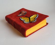 Orange leather bound Pocket journal with by SolitaireDesigns, $15.00