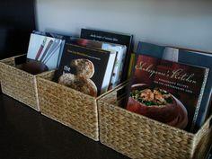 Cookbook organization. Love baskets :)