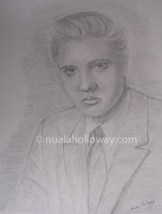 """Elvis' 56"" by Nuala Holloway - Pencil on Paper (Commission)  As featured in the music biography ""Elvis and Ireland"" by Ivor Casey -  Available to buy now on Amazon #Elvis #ElvisandIreland #IrishArtist"