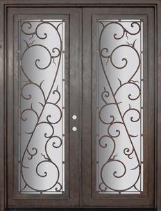 GlassCraft Door Company Buffalo Forge Steel Bellagio Double & Mahogany Double Door with Monterrey Iron - mediterranean - front ... pezcame.com
