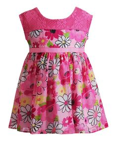 Another great find on #zulily! Hot Pink Floral Lace Babydoll Dress - Infant & Toddler #zulilyfinds