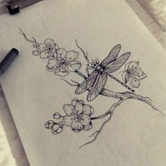 Love these flowers this dragon fly is going with my tat. Dragonfly Drawing, Dragonfly Tattoo Design, Dragonfly Art, Flower Tattoo Designs, Flower Tattoos, Tattoos Of Birds, Tattoo Bunt, Et Tattoo, Tattoo Drawings