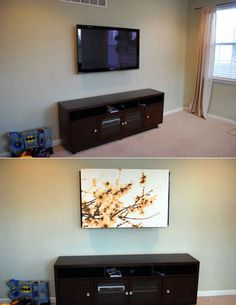 Use an inexpensive printed canvas from IKEA to hide your flatscreen TV.