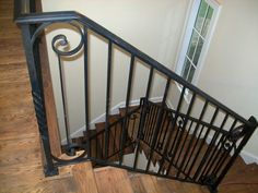 Wrought Iron Stair Railings With Wood Steps | Interior Iron Stair Railing  (#SR