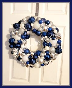 Ornament wreath; christmas aesthetic; christmas balls; shatterproof balls; Blue and Silver Wreath; Christmas Mantel Decor; Black Friday; Christmas Decorations; Hanukkah Gift; Christmas Bulb Wreath; Christmas ball wreath; winter wreath; holiday decor; bauble wreath; winter decor; christmas gifts; holiday gifts; gift for mom; blue christmas; gift for her; office holiday decor; christmas ornaments #winterdecor #ornaments #winterwreath #holidaydecor #baublewreath #christmasgifts #christmas