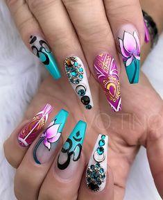 Beautiful Nail Designs, Cute Nail Designs, Beautiful Nail Art, Gorgeous Nails, Pretty Nails, Creative Nail Designs, Amazing Nails, Hot Nails, Hair And Nails