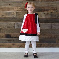 Girls Red White Minky Tie Dress