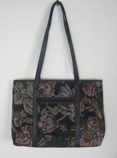 Vintage 1980s Black Faux Leather Floral Rose Tapestry Shoulder Bag from  Virtual Vintage Clothing f6127f82efc66