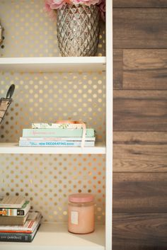 Oh My Dear Blog - dens/libraries/offices - white bookcase, wallpaper backed bookcase, wallpaper lined bookcase, gold polka dot wallpaper, po...