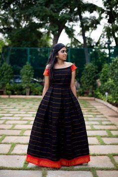 Black and Orange Veldari Dress – Tamara Long Dress Design, Dress Neck Designs, Lehenga, Anarkali Dress, Saree Gown, Sarees, Black Anarkali, Indian Anarkali, Long Gown Dress
