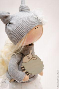 Купить Alisia - серый, кремовый, голубой, девочка, куколка, малышка, тильда, пупс, подарок