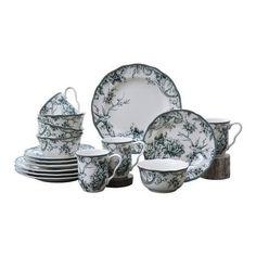 Adelaide Green 16 Piece Dinnerware Set Blue And White Dinnerware, Green Dinnerware, Porcelain Dinnerware, 222 Fifth Dinnerware, Spring Scene, Flower Branch, Christmas Settings, Dinner Sets, Timeless Elegance
