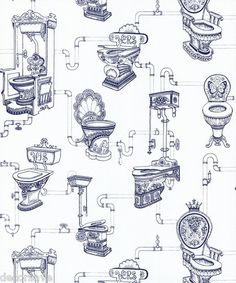 Graham & Brown Loo Loo Wallpaper 50-624. Toilet Water Closet Bathroom White Blue | eBay