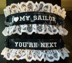 US Navy Garter set with I love my sailor by CreativeGarters, $28.00