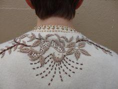 50s Cream Knit Beaded Cardigan, Small. $45.00, via Etsy.