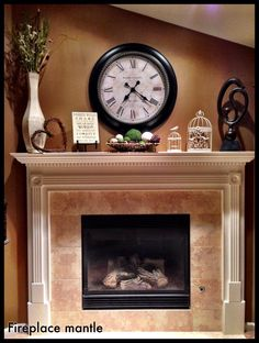 Fireplace Mantle Decorating - a large clock over the fireplace works too Faux Fireplace, Fireplace Design, Fireplaces, Fireplace Ideas, Modern Fireplace, Home Living Room, Living Room Decor, Antique Mantel Clocks, Clock Decor