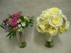 Bridal bouquet of David Austin Patience roses, cream hydrangea and vintage broaches with a satin and lace stem wrap.  Maid of Honor bouquet of blue hydrangea, cool water roses, white freesia, blue scabiosa and lavender stock.