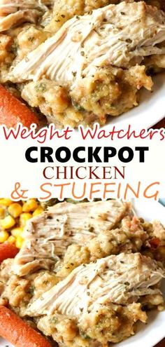 Crockpot chicken and stuffing - weight watchers recipes easy Poulet Weight Watchers, Plats Weight Watchers, Weight Watchers Diet, Weight Watchers Chicken, Weight Watchers Points, Weight Watcher Girl, Weight Watchers Casserole, Skinny Recipes, Ww Recipes