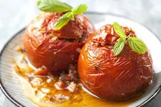 Gemista recipe (Greek Stuffed Tomatoes and Peppers with rice) - My Greek Dish - Mediterranean Food/Recipes - Greek Recipes Greek Recipes, Rice Recipes, Cooking Recipes, Recipies, Dinner Recipes, Yemista Recipe, Greek Cooking, Greek Dishes, Eggplant Recipes