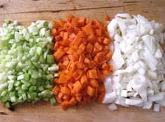 Chopped celery, carrot and onion are the ingredients of a mirepoix, pronounced /mir-pwah/. As always in cooking, the freshest ingredients make the best tasting food.When preparing your mirepoix, be sure that the pieces of your vegetables are as close to the same size as possible. Smaller pieces cook more quickly than big ones.The proportions of ingredients depends on your taste. Like celery? Use more celery than carrot and onion in your mirepoix.Not into the chopping? Many grocery stores now…