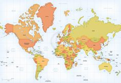 Map of world asia australia centered maps of the world pinterest vector map world mercator europe africa gumiabroncs Image collections