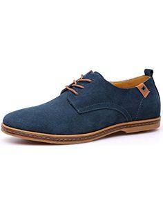 Fansela(TM) Mens PU Leather Suede Lace Up Platform Shoes Size 10.5 Blue ❤ ...