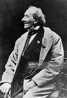 circa 1860's, Hans Christian Andersen, born in Odense, (1805-1875) Danish writer of folk legends, fairy tales and humour with a moral teaching all written with great imagination, Especially popular with children his work was also admired by adults